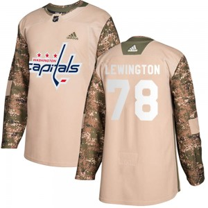 Youth Washington Capitals Tyler Lewington Adidas Authentic Veterans Day Practice Jersey - Camo