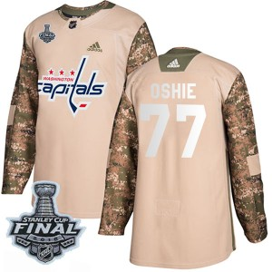 Men's Washington Capitals T.J. Oshie Adidas Authentic Veterans Day Practice 2018 Stanley Cup Final Patch Jersey - Camo