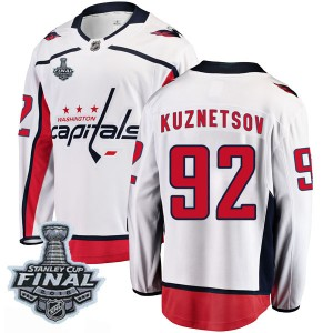Men's Washington Capitals Evgeny Kuznetsov Fanatics Branded Breakaway Away 2018 Stanley Cup Final Patch Jersey - White